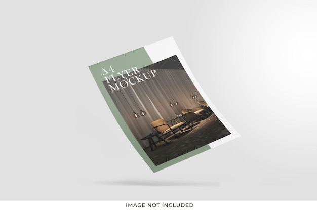 Floating brochure or flyer mockup isolated