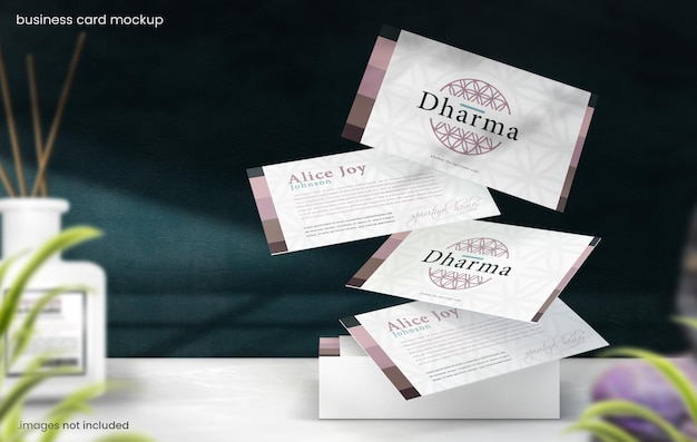 Floating business card mockup on marble table