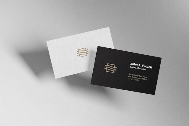 Floating business card mockup