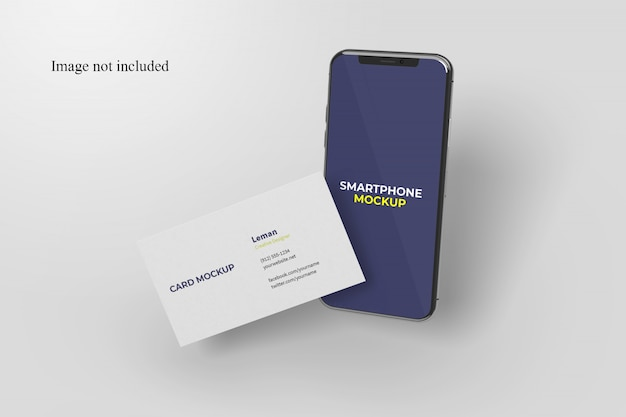 Floating business card and smartphone mockup