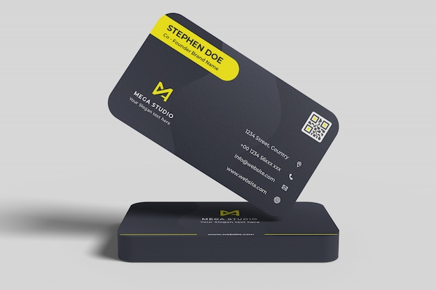 Floating business card over stack