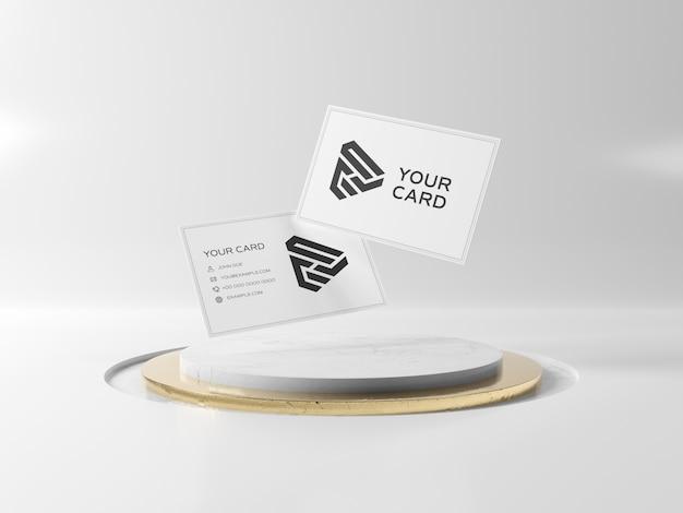 Плавающие визитки на подиуме мокап