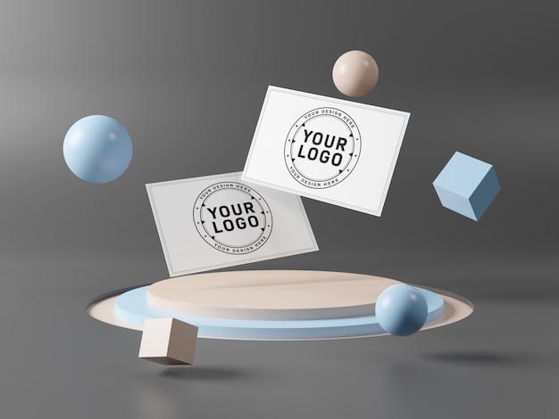 Floating business cards on stage podium mockup