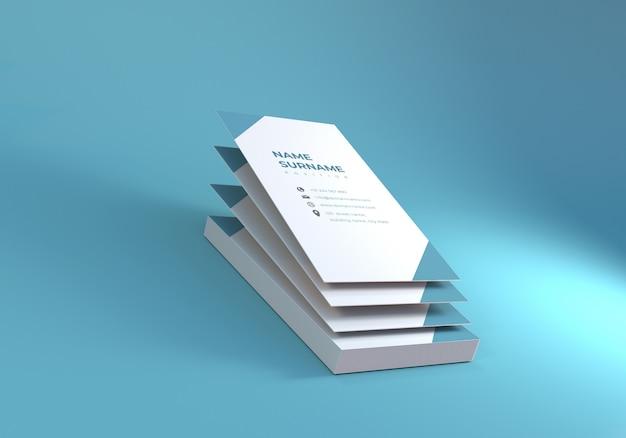 青色の背景を持つフローティングビジネス名カードモックアップ