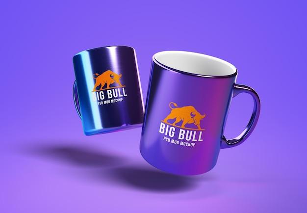 Floating chrome mug mockup design