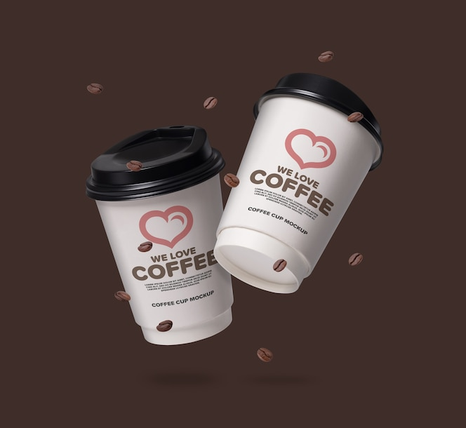 Floating coffee cups mockup with coffee beans