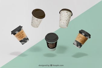 Floating coffee cups