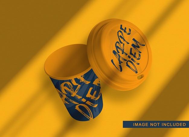 Плавающий макет упаковки кофе