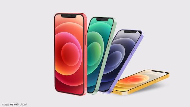 フローティングカラフルな電話 Premium Psd