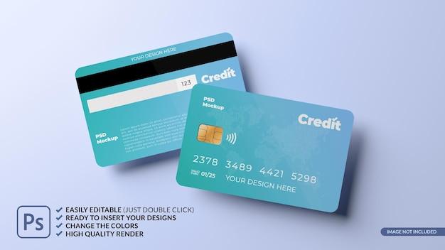 부동 신용 카드 디자인 모형 3d 렌더링