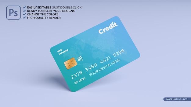 Floating credit card design mockup 3d rendering