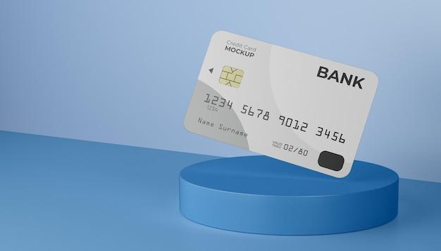 Плавающая кредитная карта с чипом на пьедестале на фоне стены и пола