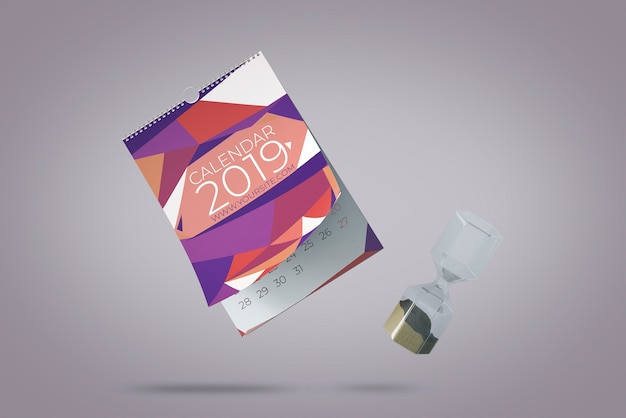 Concetto di mockup di calendario decorativo galleggiante
