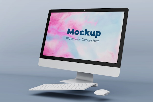 Floating desktop screen mockup design template