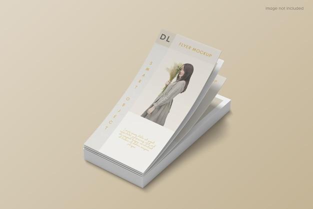 Floating flyer brochure mockup design on high angle