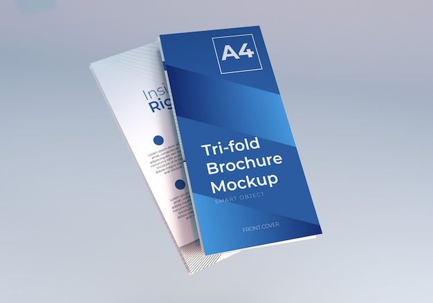 Floating folded trifold brochure mockup