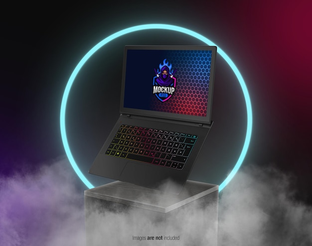 Floating gaming laptop on the display mockup