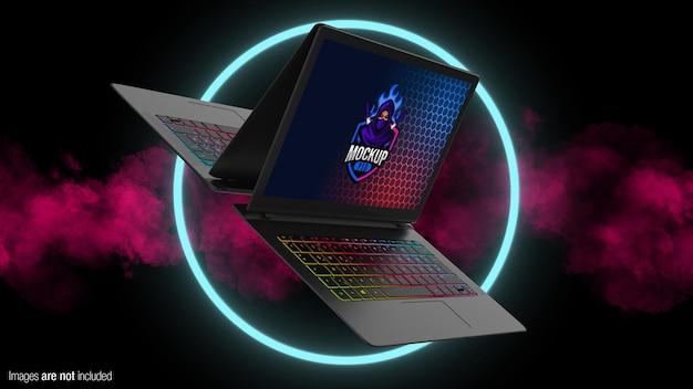 Floating gaming laptop mockup