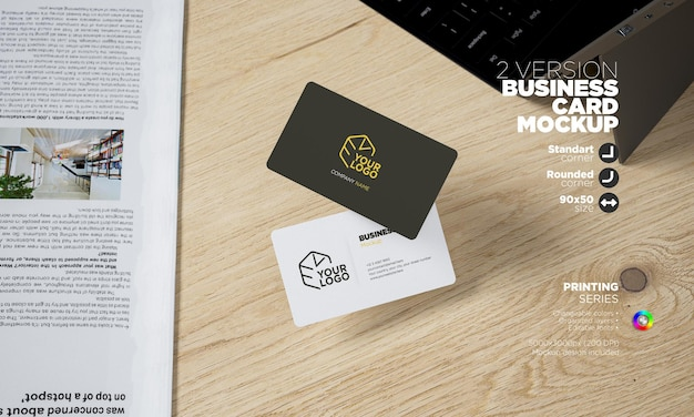 Floating horizontal business cards mockup