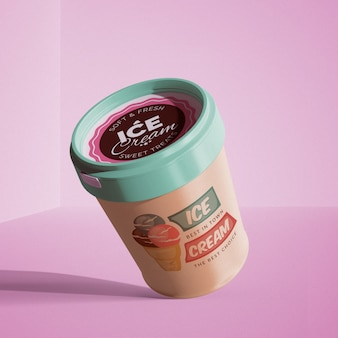 Floating ice cream mockup