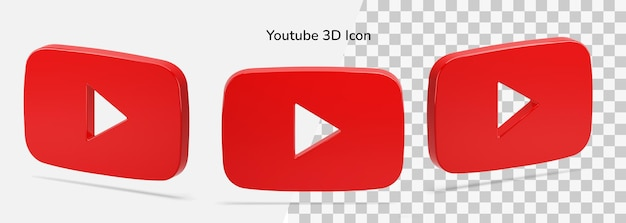 Floating isolated 3d youtube logo 3d icon asset