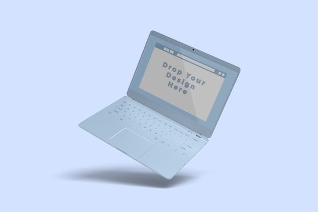 分離されたフローティングノートパソコンのモックアップ画面