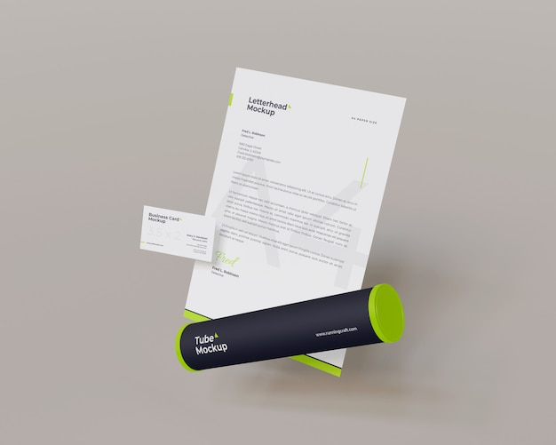 Floating letterhead and business card with tube mockup looks the right view
