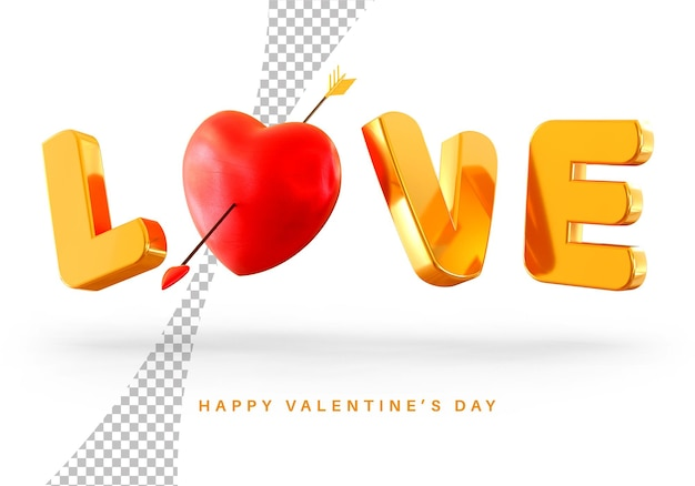Floating love text style with valentine's day heart 3d rendering isolated