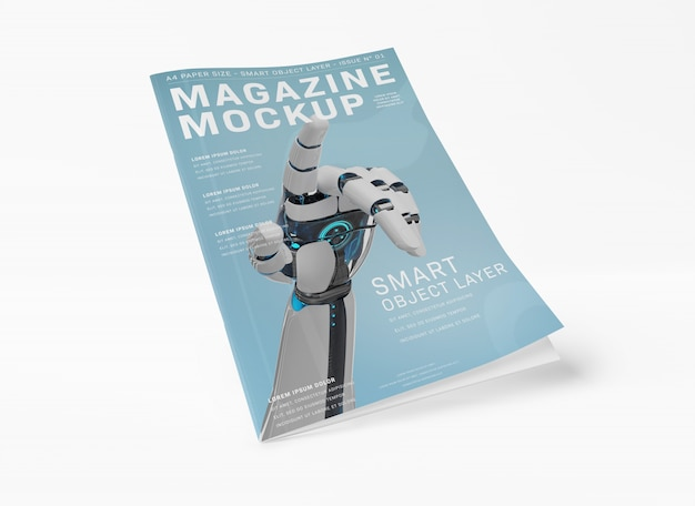 Floating magazine cover on white mockup