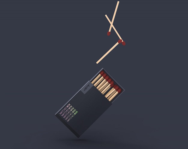 Floating matches box mockup