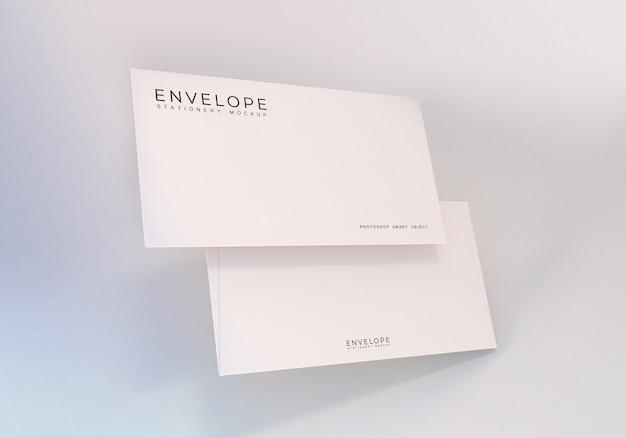 Floating minimalist clean white monarch envelope mockup