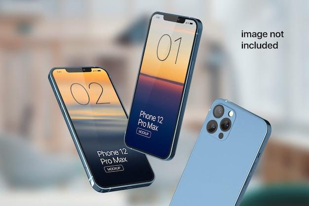 Floating mobile phone screen mockup
