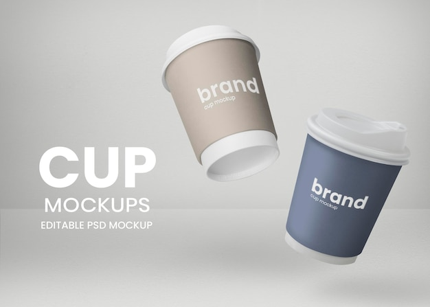 Floating paper cups mockup psd for coffee shop takeaway