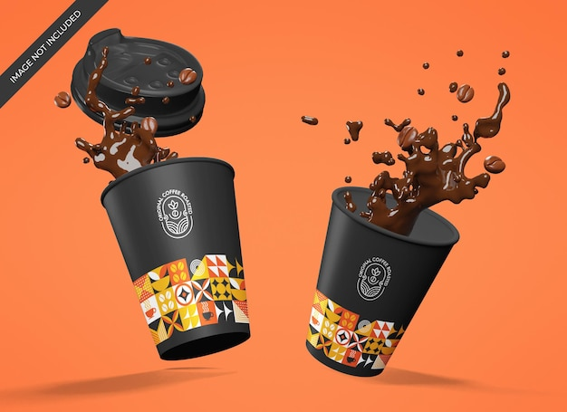 Floating paper cups mockup with a splash