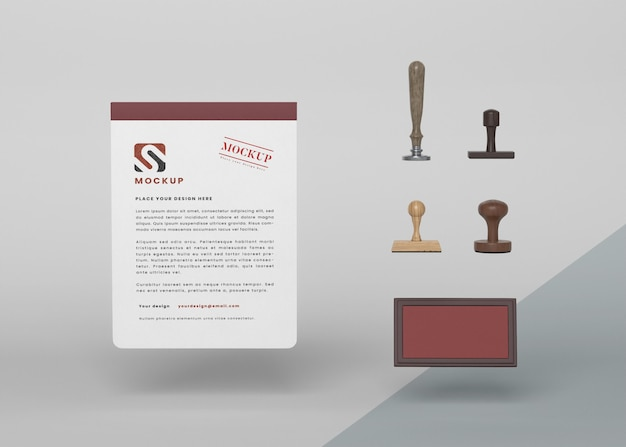 Floating paper mockup and stamp