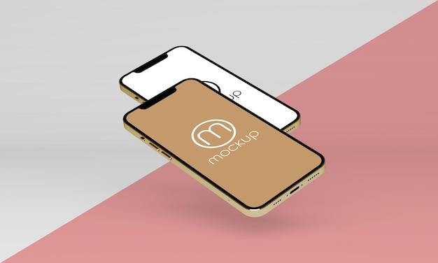 分離されたフローティング電話のモックアップデザイン