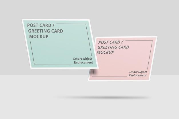 Floating postcard mockup or invitation card