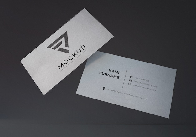 Floating realistic business card mockup