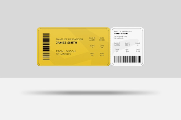 Floating rounded corner boarding pass or airplane ticket mockup design