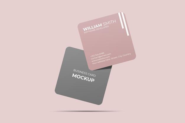 Плавающий квадратный макет визитки с закругленными углами