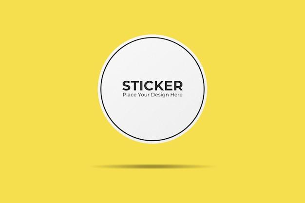Floating rounded sticker mockup design
