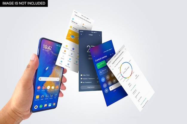 Floating screens and smartphone in hand mockup design