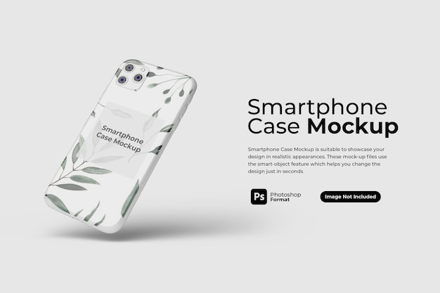 Floating smartphone case mockup design isolated