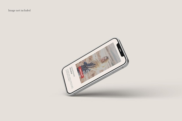 Floating smartphone mockup design isolated