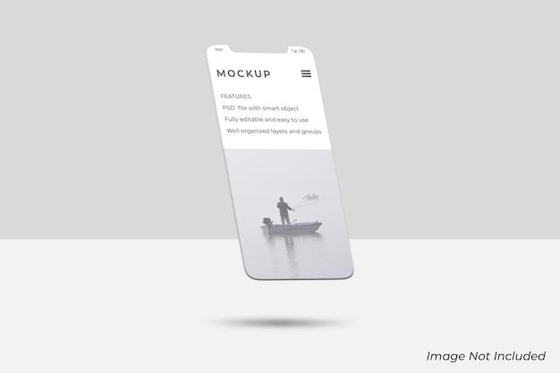 Плавающий экран смартфона для макета презентации ui ux app