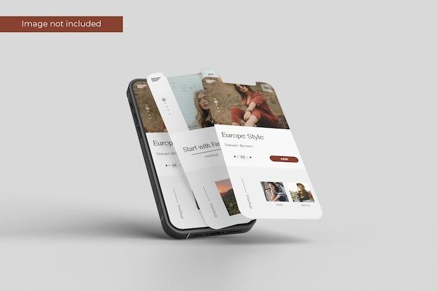 Floating smartphone and screen mockup design in 3d rendering