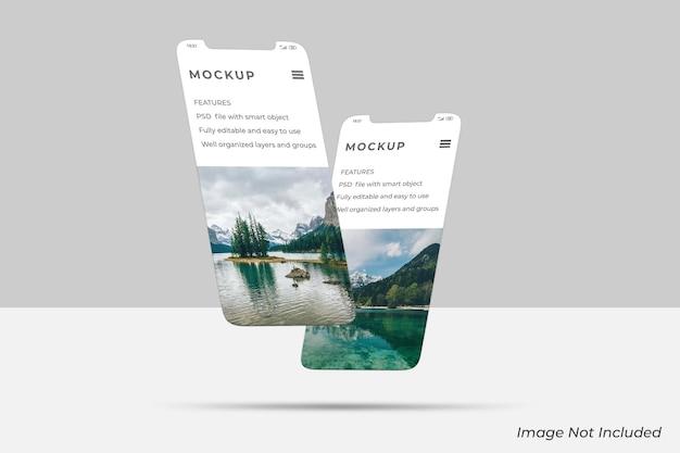 フローティングスマートフォン画面モックアップデザイン