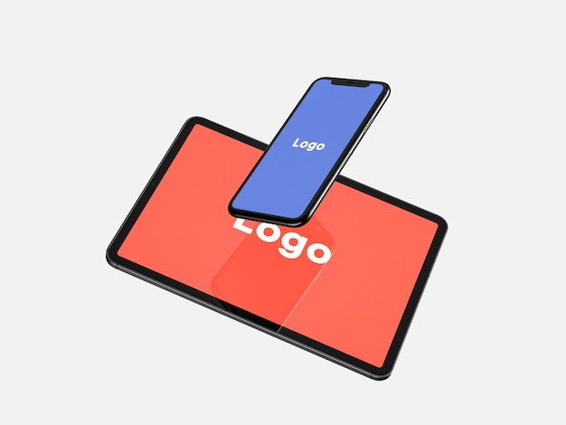 Floating smartphone and tablet mockup