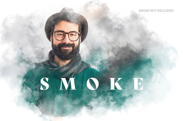 Floating smoke photo effect template