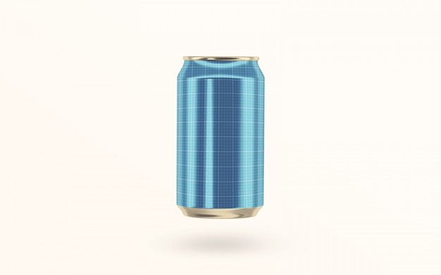 Floating soda drink can mockup